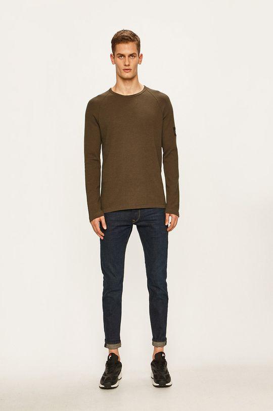Calvin Klein Jeans - Tričko s dlouhým rukávem tlumená zelená