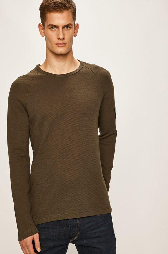 tlumená zelená Calvin Klein Jeans - Tričko s dlouhým rukávem