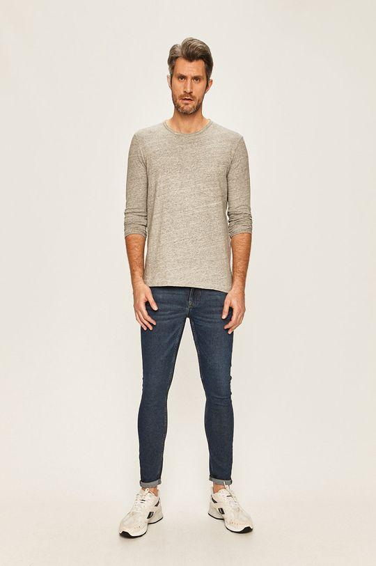 Selected - Pánske tričko s dlhým rukávom svetlosivá