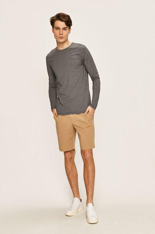 Selected - Pánske tričko s dlhým rukávom tmavomodrá