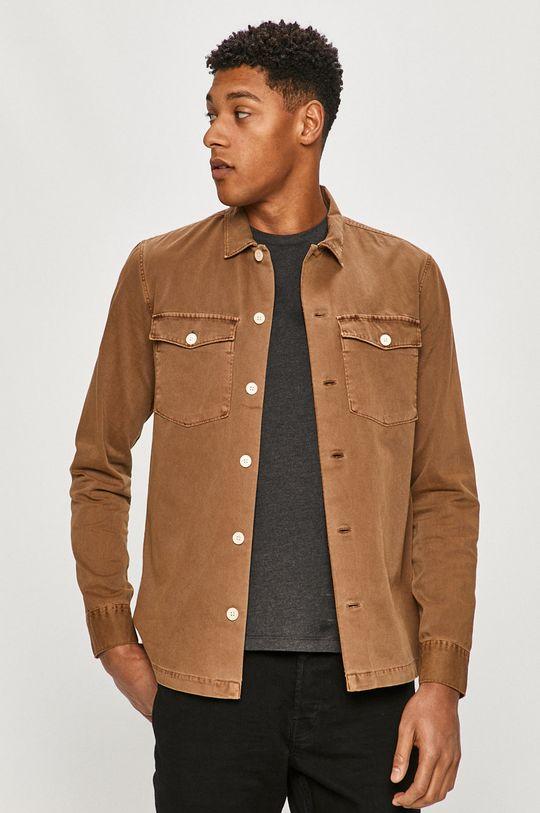 brązowy AllSaints - Koszula bawełniana Męski