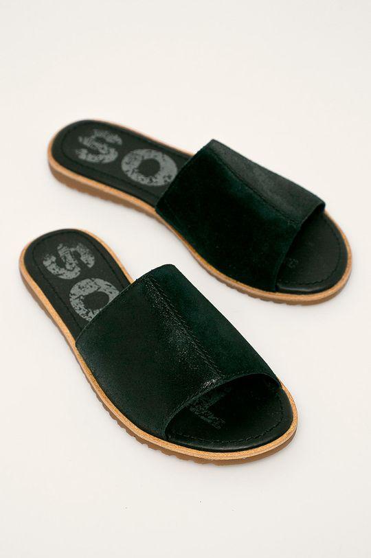 Sorel - Kožené šľapky Ella čierna