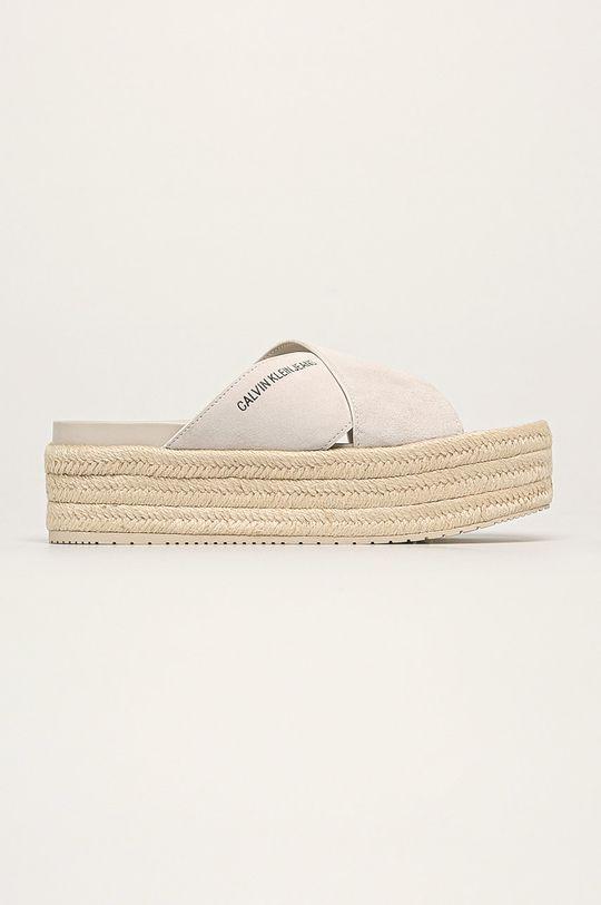 biela Calvin Klein Jeans - Kožené šľapky Dámsky