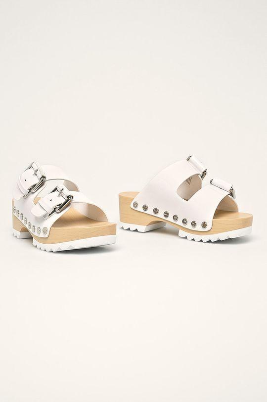 Calvin Klein Jeans - Kožené šľapky biela