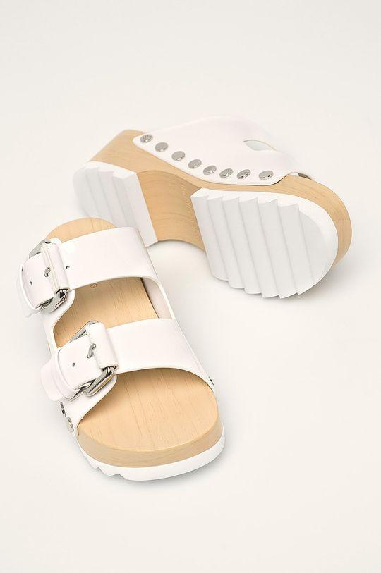 biela Calvin Klein Jeans - Kožené šľapky