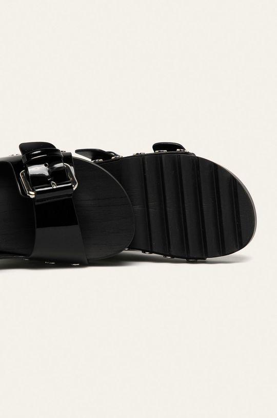 čierna Calvin Klein Jeans - Kožené šľapky