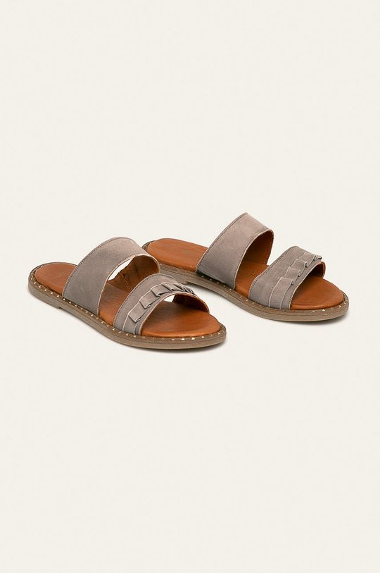 Tamaris - Kožené pantofle světle šedá
