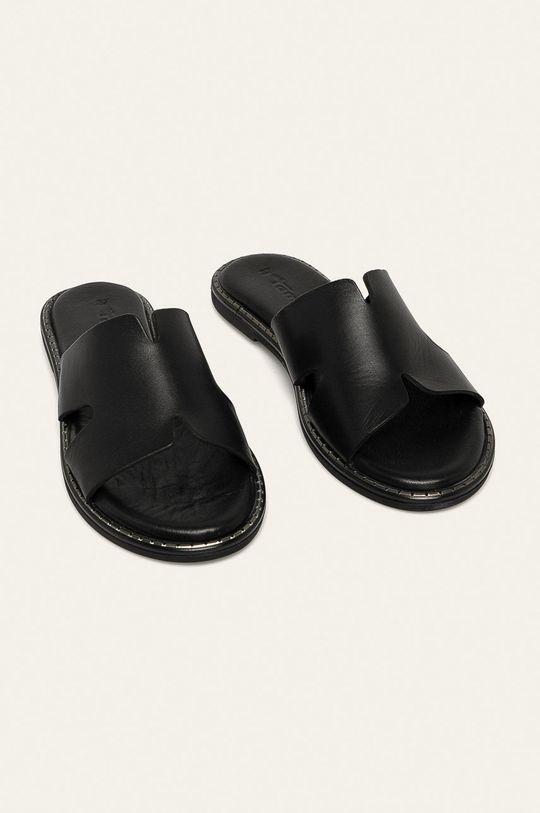 Tamaris - Kožené šľapky čierna