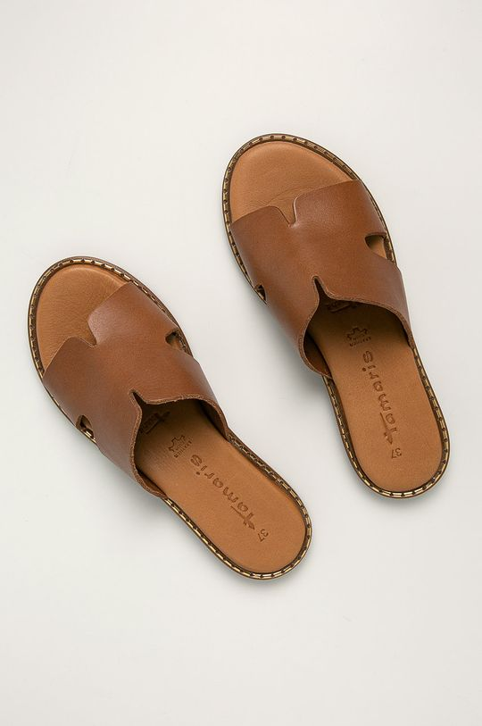 Tamaris - Kožené šľapky hnedá