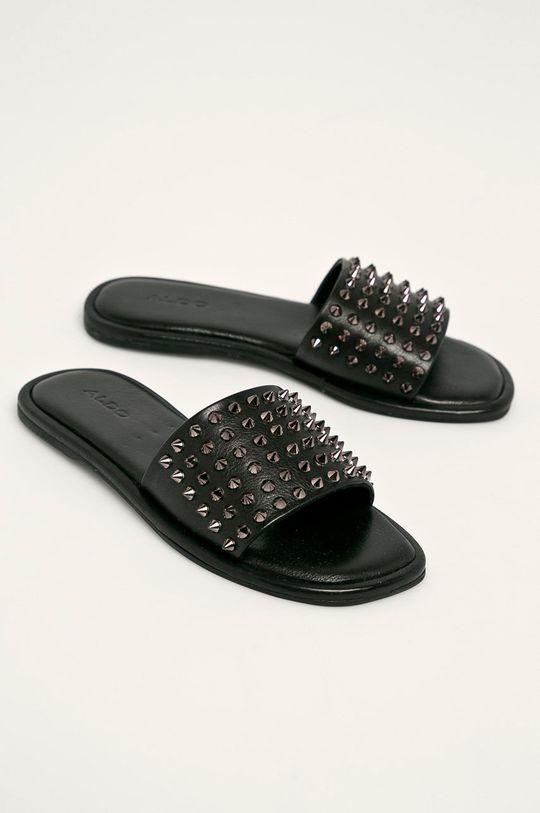 Aldo - Kožené pantofle Falcifera černá