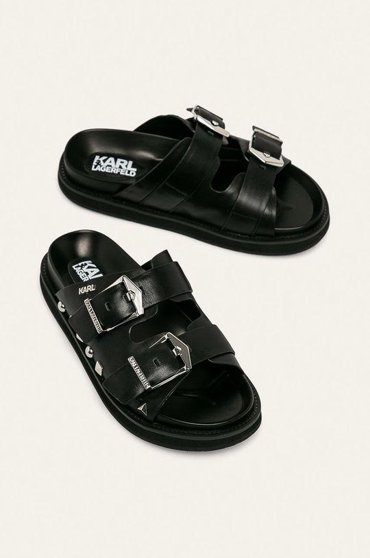 Karl Lagerfeld - Kožené pantofle černá