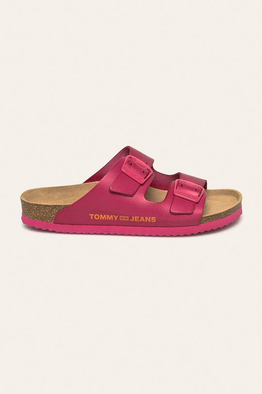 ružová Tommy Jeans - Kožené šľapky Dámsky