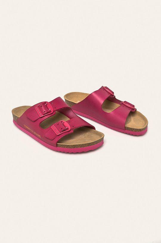 Tommy Jeans - Kožené šľapky ružová