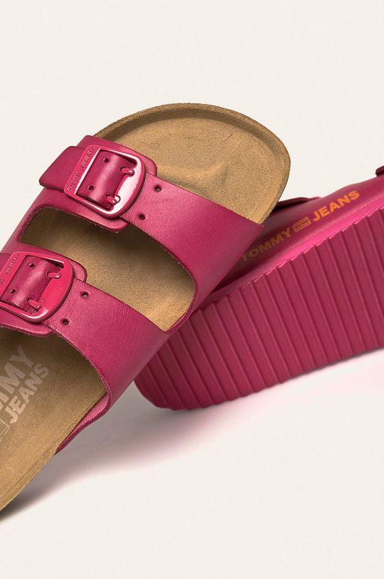 ružová Tommy Jeans - Kožené šľapky