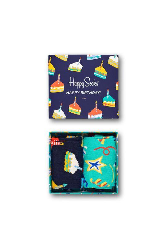 námořnická modř Happy Socks - Ponožky Birthday Gift Box (2 pack) Pánský