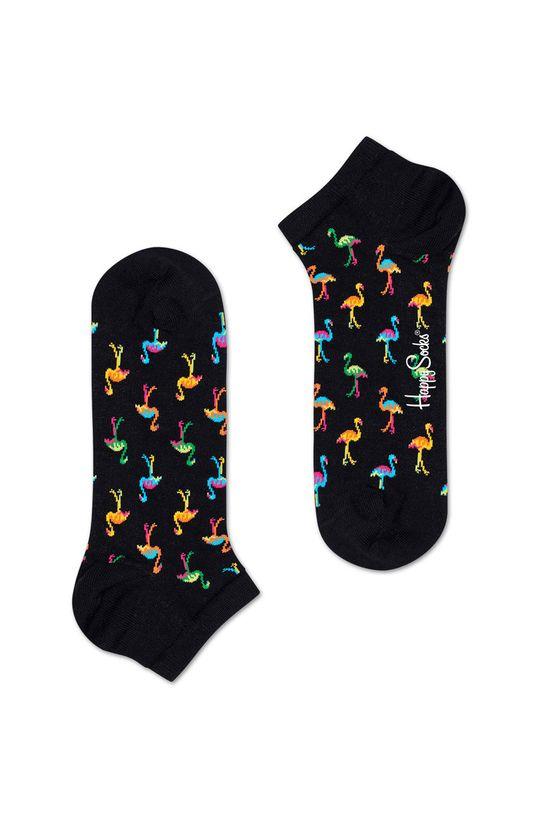černá Happy Socks - Kotníkové ponožky Flamingo Pánský