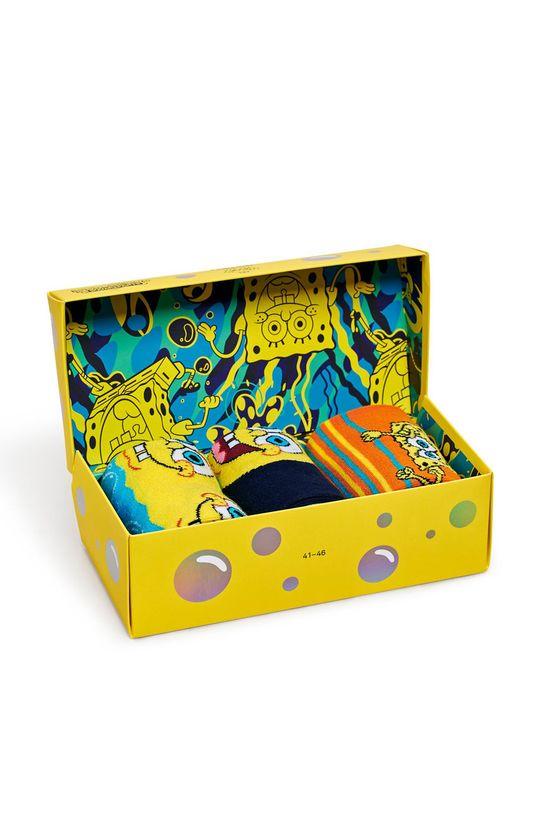 žlutá Happy Socks - Ponožky Sponge Bob (3-pack) Pánský