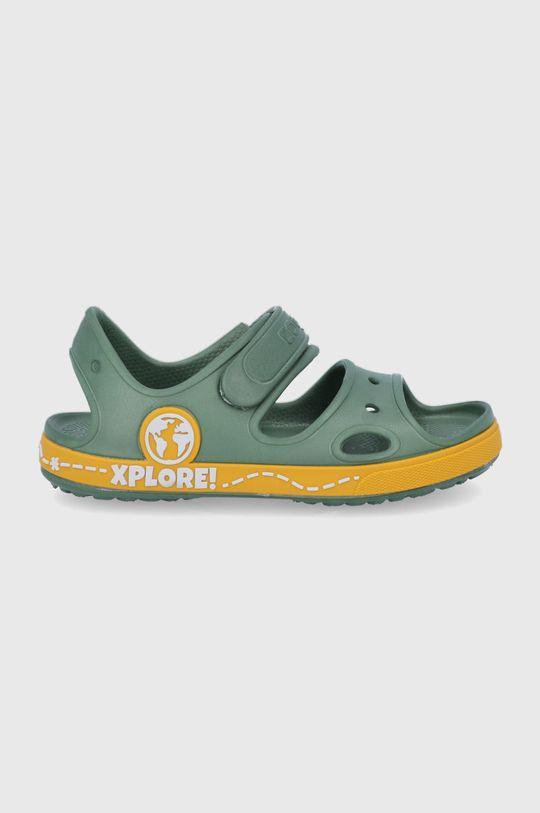 tlumená zelená Coqui - Dětské sandály Chlapecký