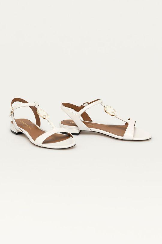 Emporio Armani - Kožené sandály bílá