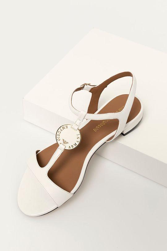 bílá Emporio Armani - Kožené sandály