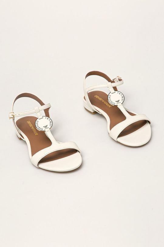 Emporio Armani - Sandały skórzane biały