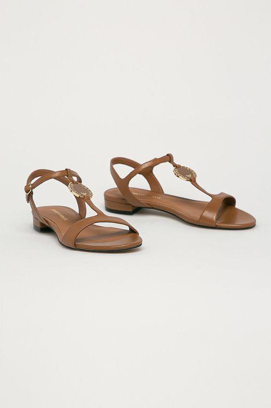 Emporio Armani - Kožené sandály hnědá