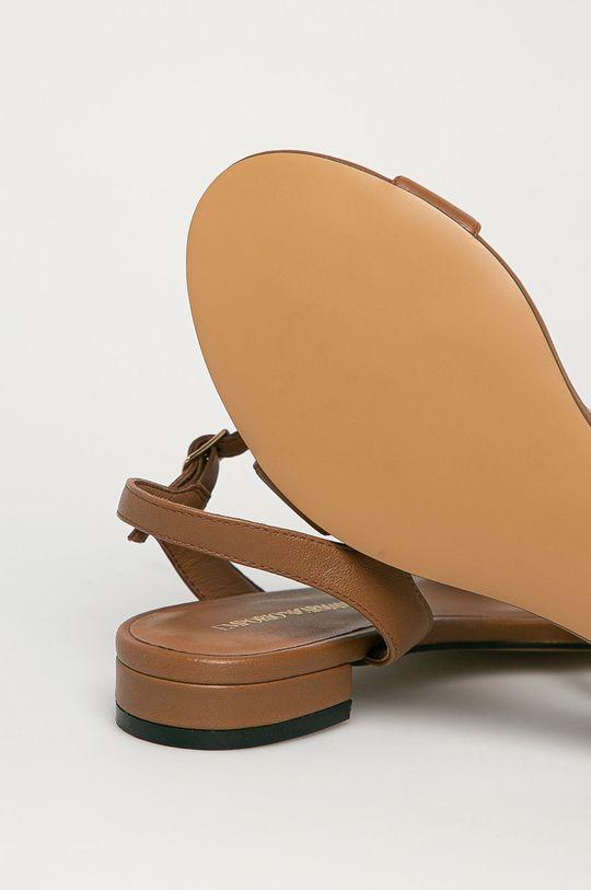 hnědá Emporio Armani - Kožené sandály