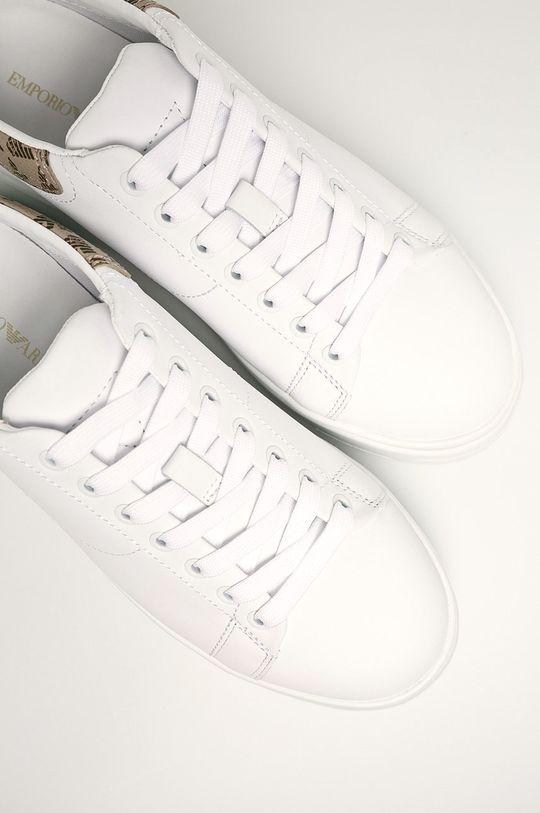 biały Emporio Armani - Buty skórzane