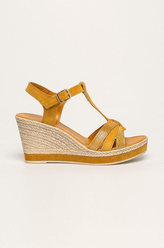 žltá Marco Tozzi - Kožené sandále Dámsky