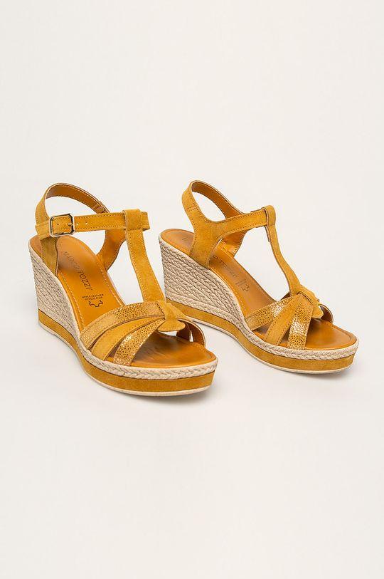 Marco Tozzi - Kožené sandále žltá
