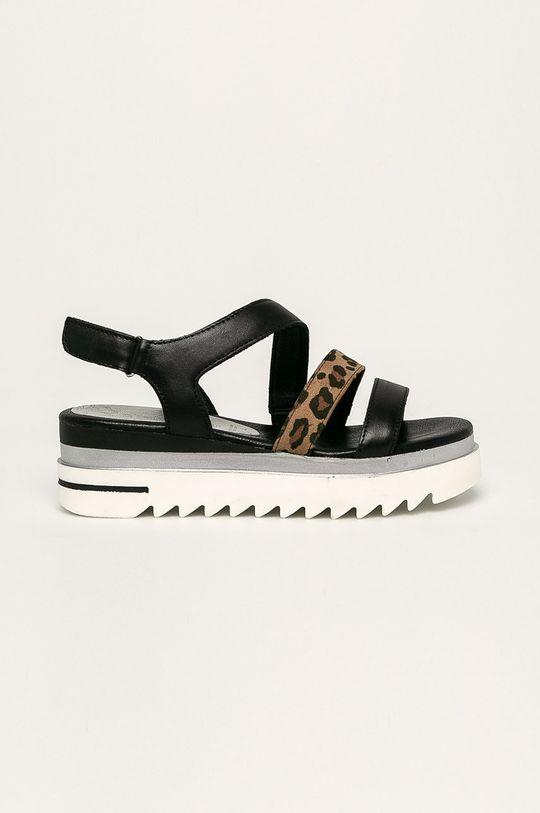 čierna Marco Tozzi - Kožené sandále Dámsky