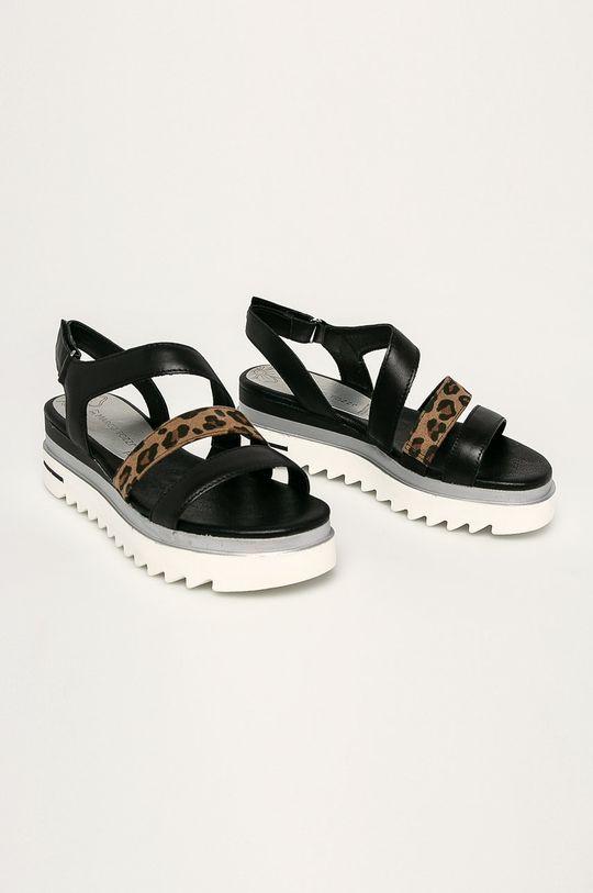 Marco Tozzi - Kožené sandále čierna