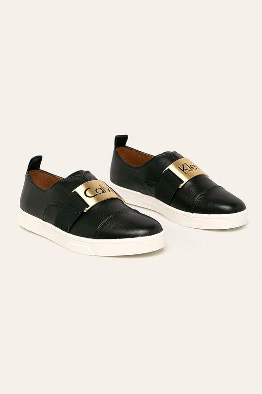Calvin Klein - Kožené boty černá