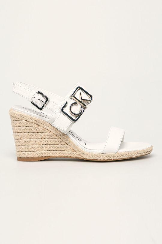 bílá Calvin Klein - Kožené sandály Dámský