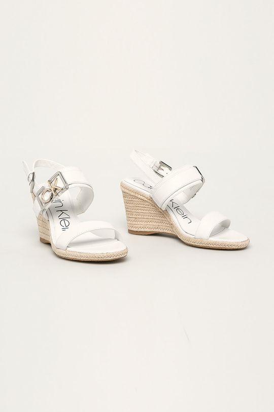 Calvin Klein - Kožené sandály bílá