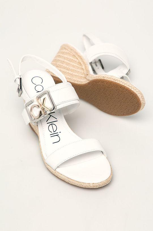 bílá Calvin Klein - Kožené sandály