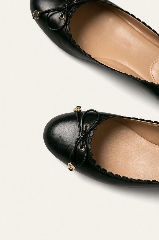 čierna Lauren Ralph Lauren - Kožené balerínky