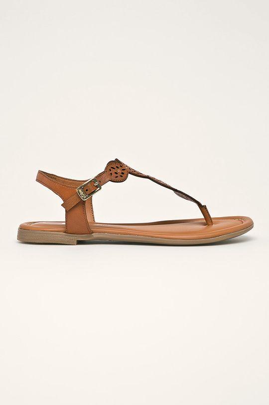 hnedá s. Oliver - Kožené sandále Dámsky