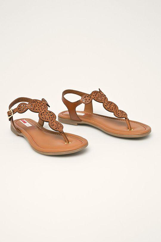 s. Oliver - Kožené sandále hnedá