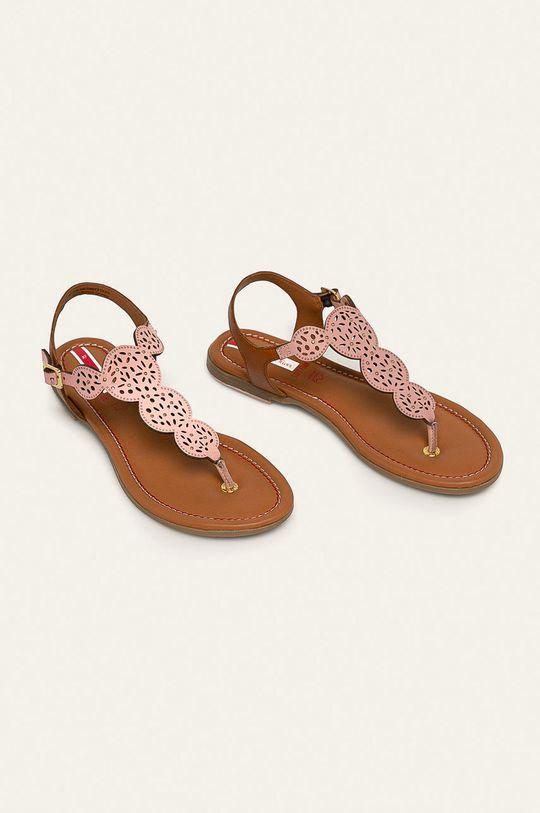 s. Oliver - Kožené sandále pastelová ružová