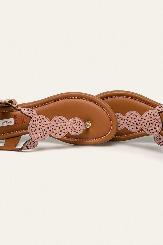 pastelová ružová s. Oliver - Kožené sandále