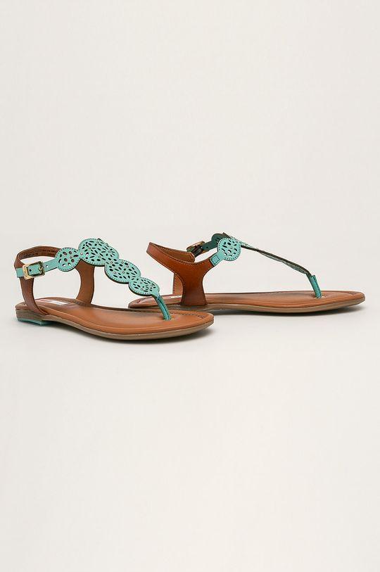 s. Oliver - Kožené sandále tyrkysová