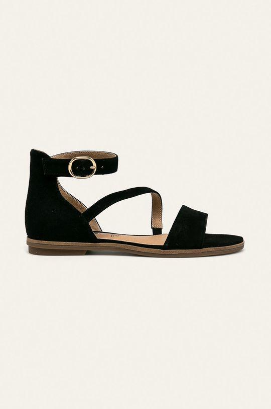 čierna s. Oliver - Kožené sandále Dámsky