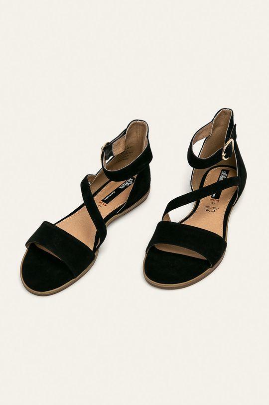 s. Oliver - Kožené sandále čierna