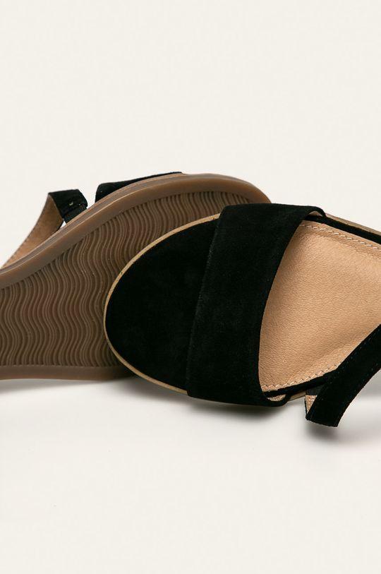 čierna s. Oliver - Kožené sandále