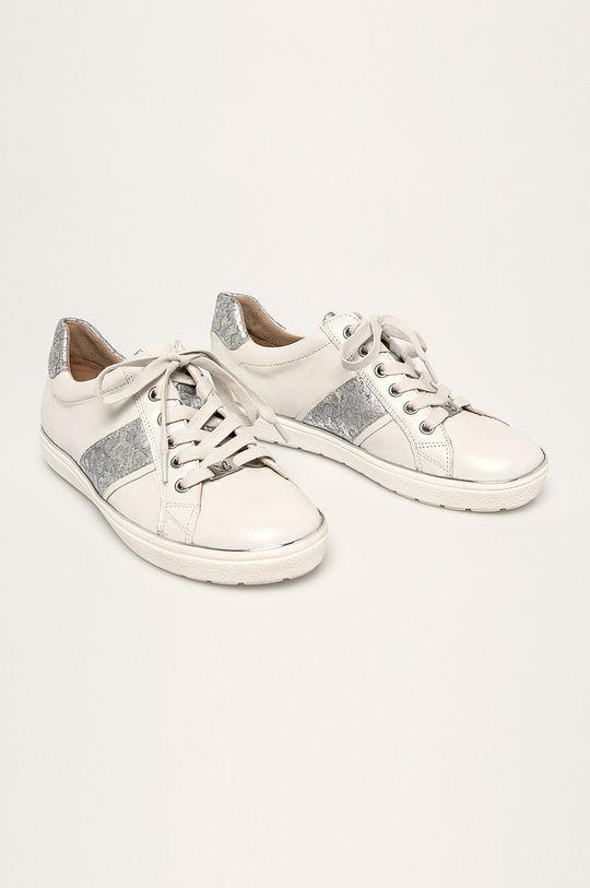 Caprice - Kožená obuv biela