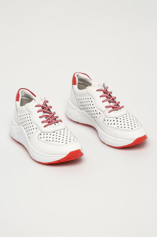 Caprice - Kožené boty bílá