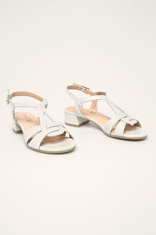 Caprice - Kožené sandále biela