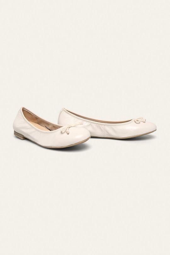 Caprice - Kožené balerínky biela