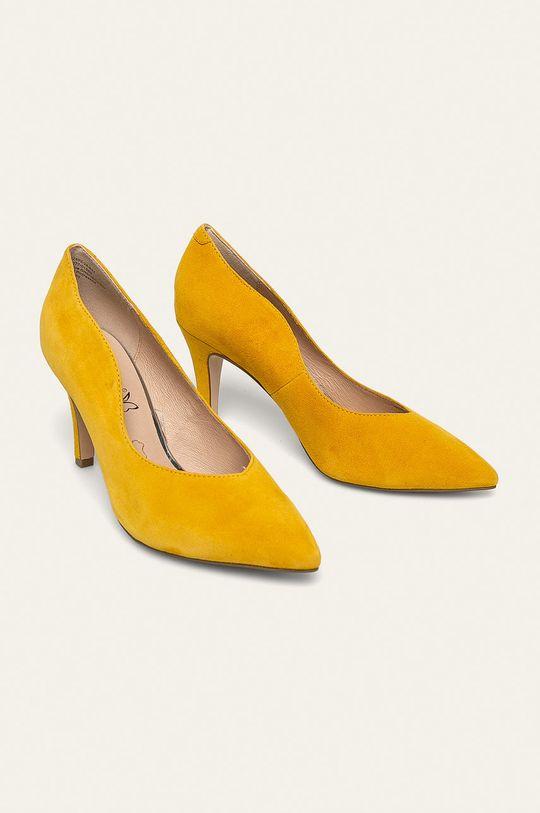 Caprice - Kožené ihličky žltá